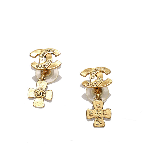 Gold Chanel CC Cross Drop Earrings