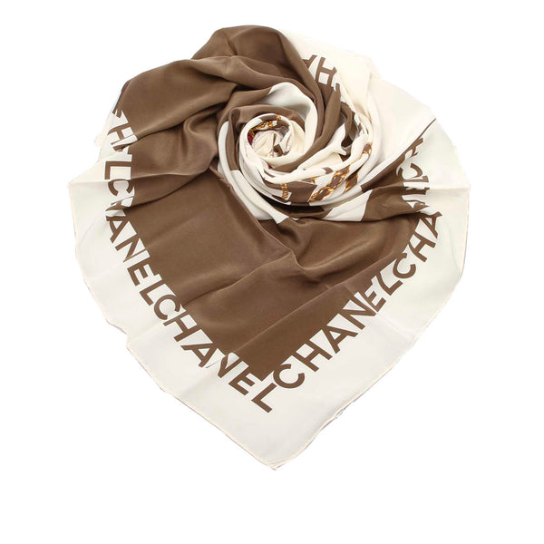 White Chanel Pearl Printed Silk Scarf