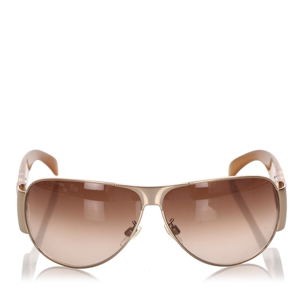 Brown Chanel CC Aviator Tinted Sunglasses
