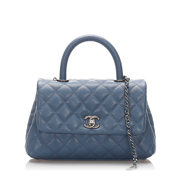 Blue Chanel Coco Caviar Leather Satchel Bag