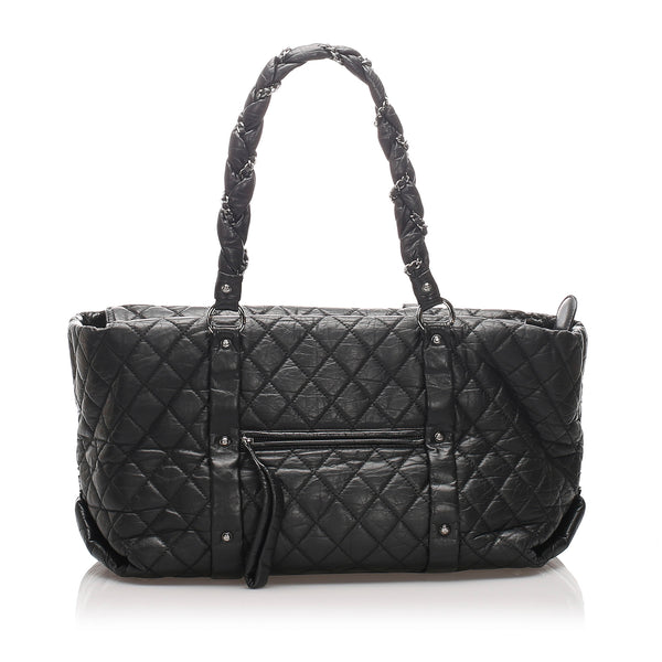 Black Chanel Quilted Lady Braid Tote Bag