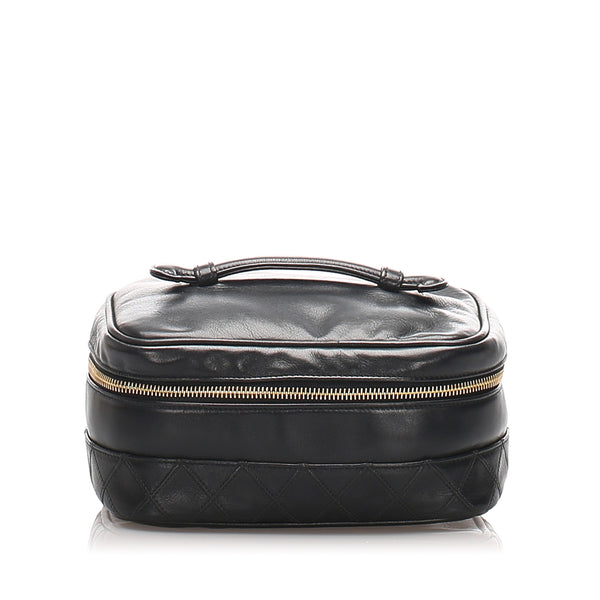 Black Chanel Quilted Lambskin Leather Vanity Bag