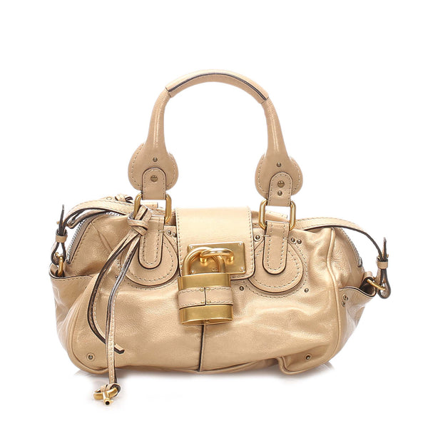 Beige Chloe Leather Paddington Satchel Bag