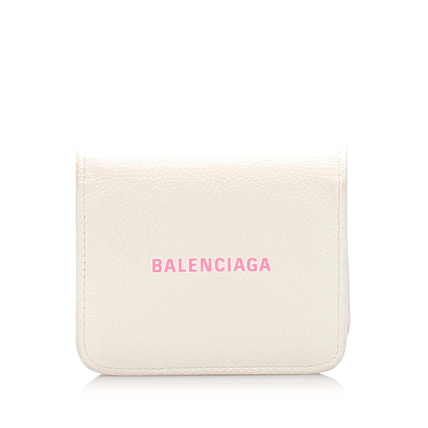 White Balenciaga Leather Bifold Wallet