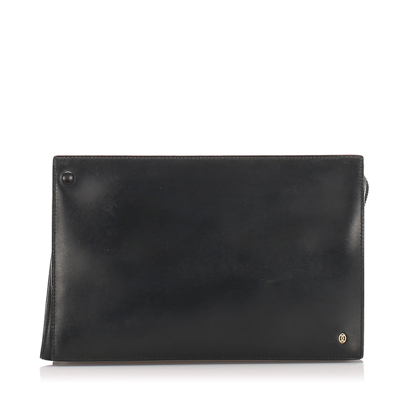 Black Cartier Leather Clutch Bag