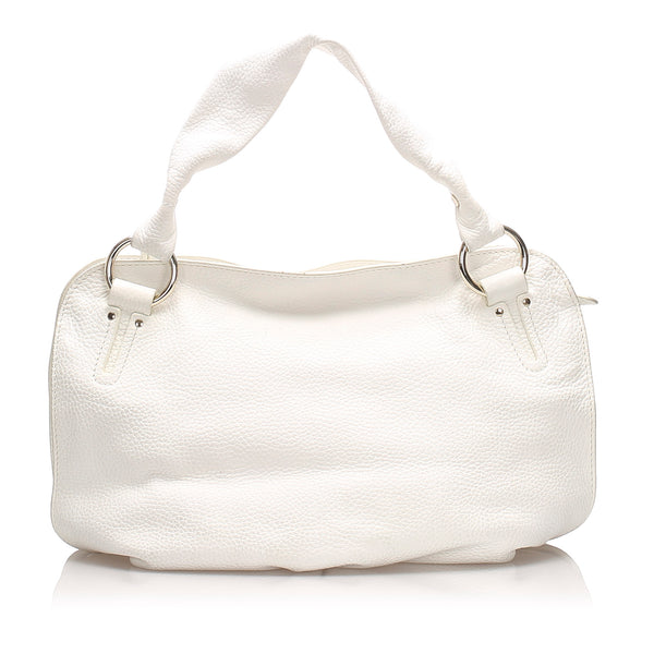 White Celine Leather Bittersweet Handbag Bag