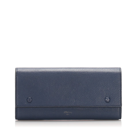Blue Celine Continental Leather Wallet