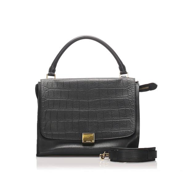 Black Celine Medium Leather Trapeze Satchel Bag
