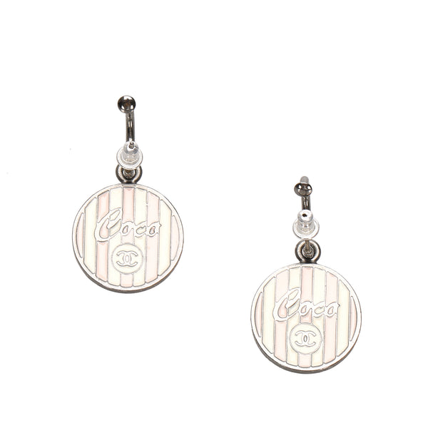 Silver Chanel CC Round Earrings