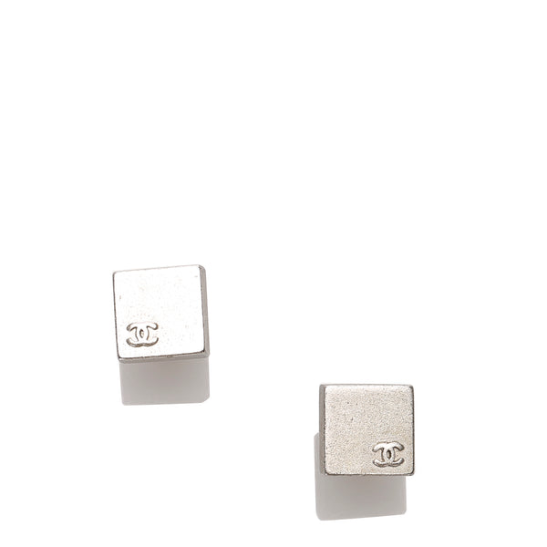Silver Chanel CC Square Push Back Earrings