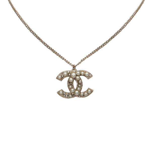 Silver Chanel CC Faux Pearl Pendant Necklace
