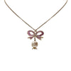 Silver Chanel CC Ribbon Rhinestone Necklace