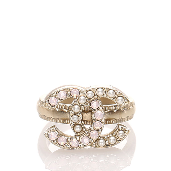 White Chanel CC Faux Pearl Ring