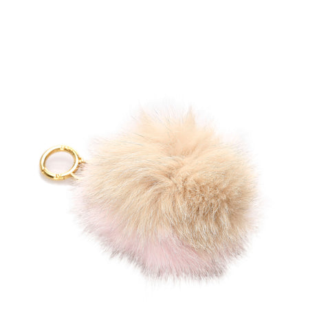 Beige and Pink Fendi Fur Pom-Pom Key Chain