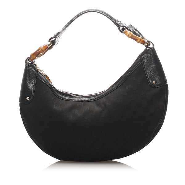 Black Gucci GG Canvas Bamboo Ring Hobo Bag