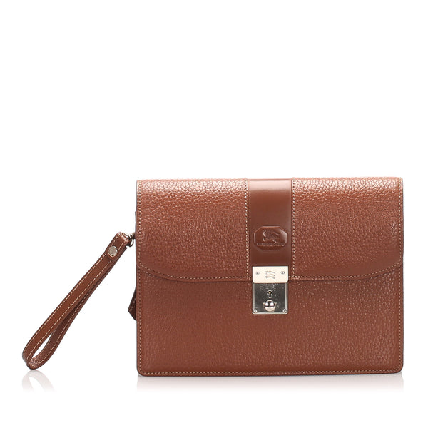 Brown Burberry Leather Clutch Bag