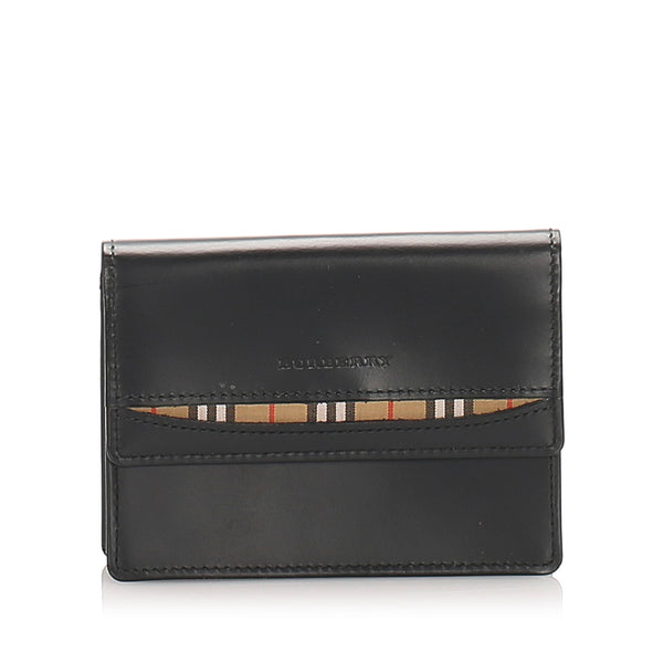 Black Burberry Bi-Fold Leather Wallet