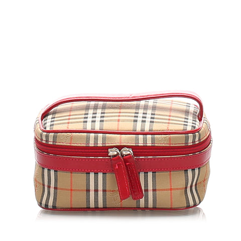 Brown Burberry Haymarket Check Canvas Vanity Bag