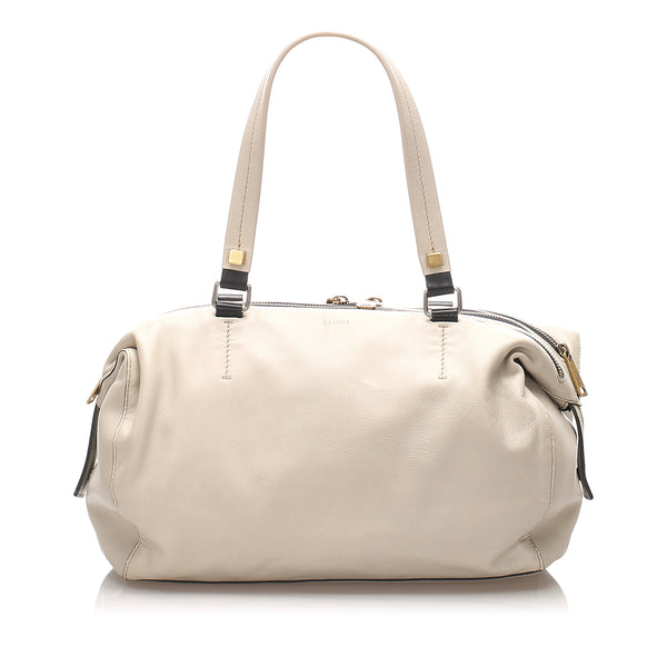 White Celine Leather Shoulder Bag