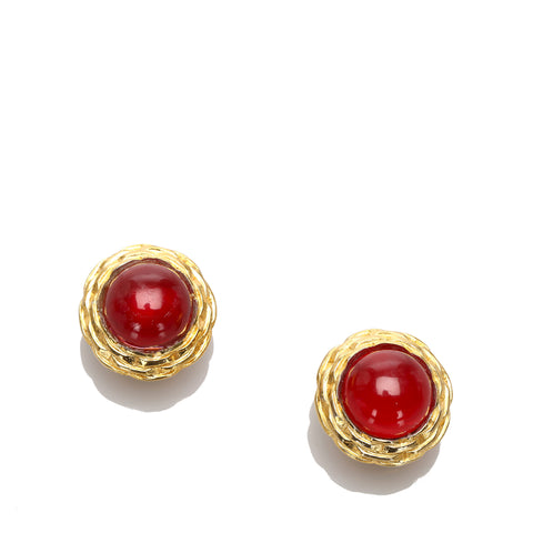 Red Chanel Round Stone Clip-on Earrings