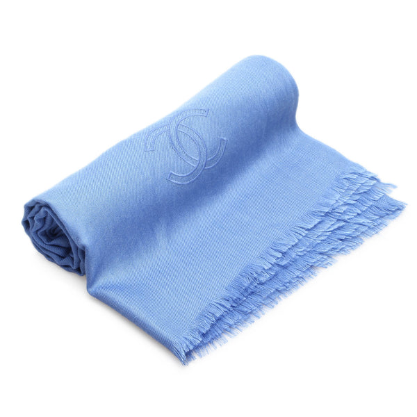 Blue Chanel Stole Cashmere Silk Scarf