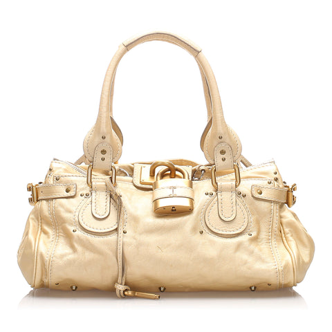 White Chloe Leather Paddington Handbag Bag