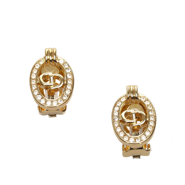Gold Dior Logo Rhinestone Clip-On Earrings
