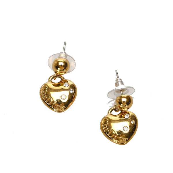 Gold Dior Heart Drop Earrings