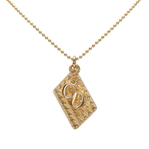 Gold Dior Dior Logo Pendant Necklace