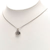 Silver Dior Heart Logo Pendant Necklace