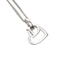 Silver Dior Heart Logo Necklace