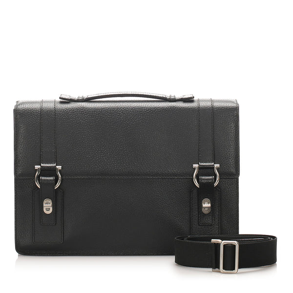Black Ferragamo Gancini Leather Briefcase Bag