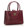 Burgundy Ferragamo Gancini Leather Handbag Bag