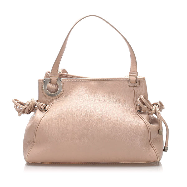 Pink Ferragamo Gancini Leather Shoulder Bag