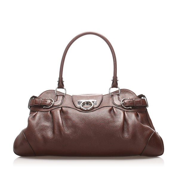 Brown Ferragamo Gancini Marissa Leather Shoulder Bag