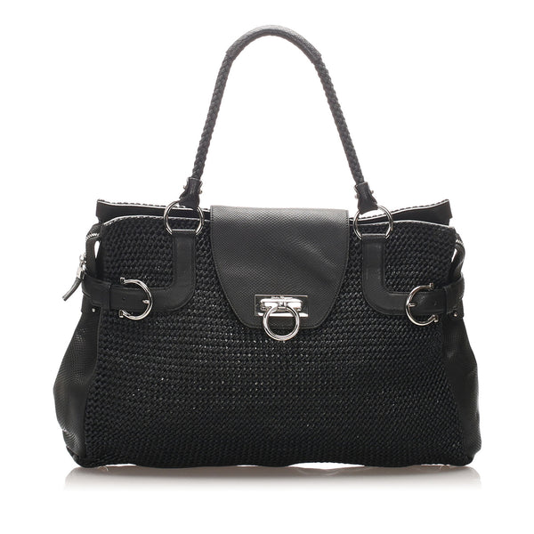 Black Ferragamo Gancini Straw Tote Bag