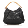 Black Gucci Bamboo Leather Tote Bag