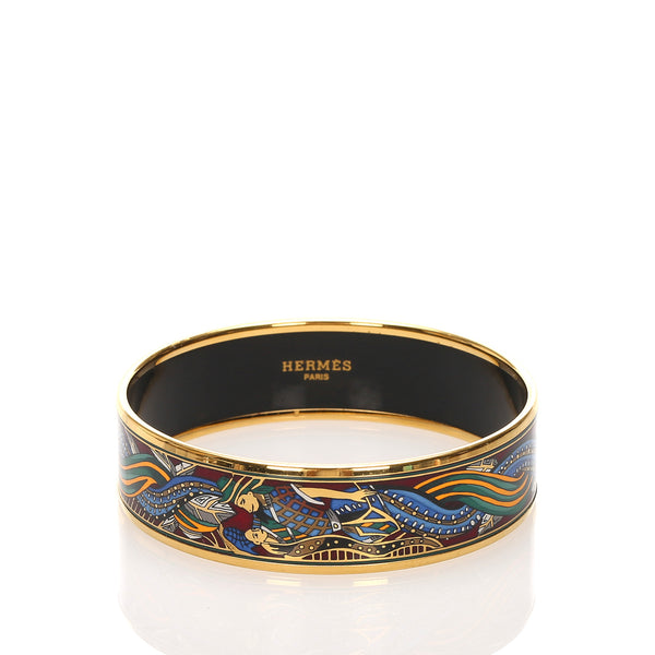 Blue Hermes Enamel GM Bangle