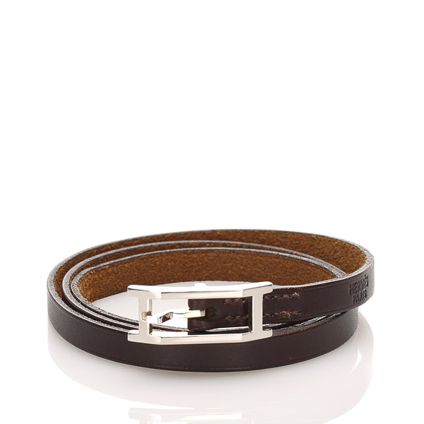 Brown Hermes Api Leather Bracelet
