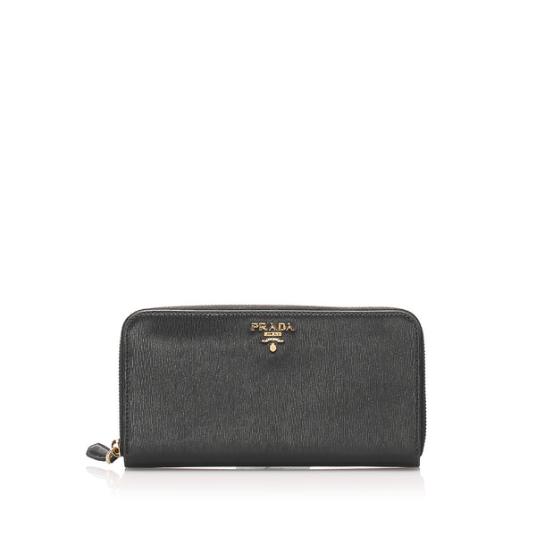 Black Prada Vitello Move Continental Wallet