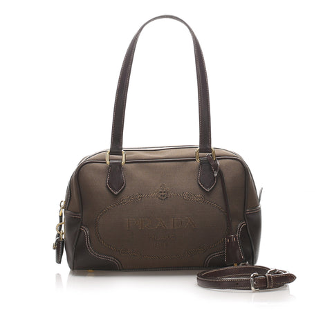 Brown Prada Canapa Logo Canvas Satchel Bag