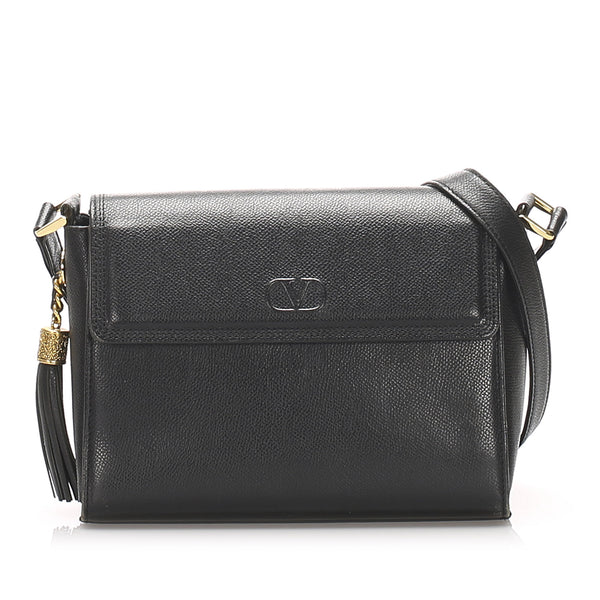 Black Valentino Leather Tassel Crossbody Bag