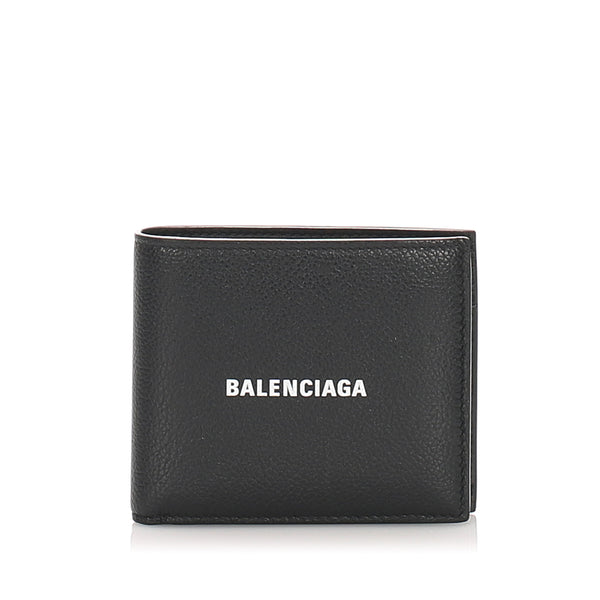 Black Balenciaga Leather Everyday Square Wallet