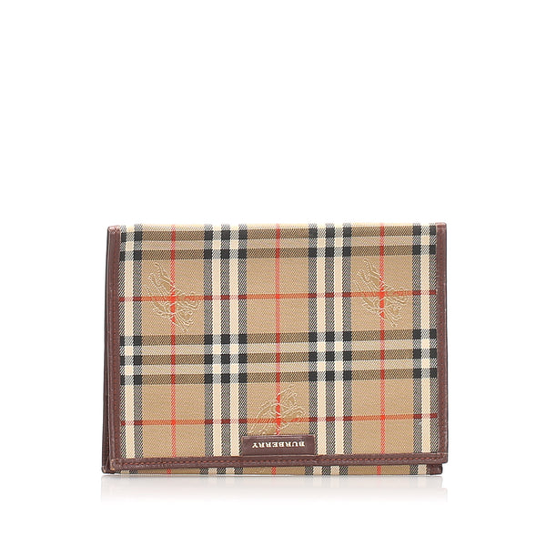 Brown Burberry Haymarket Check Canvas Card Holder