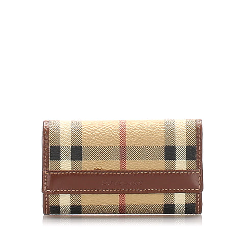 Brown Burberry House Check Leather Key Holder