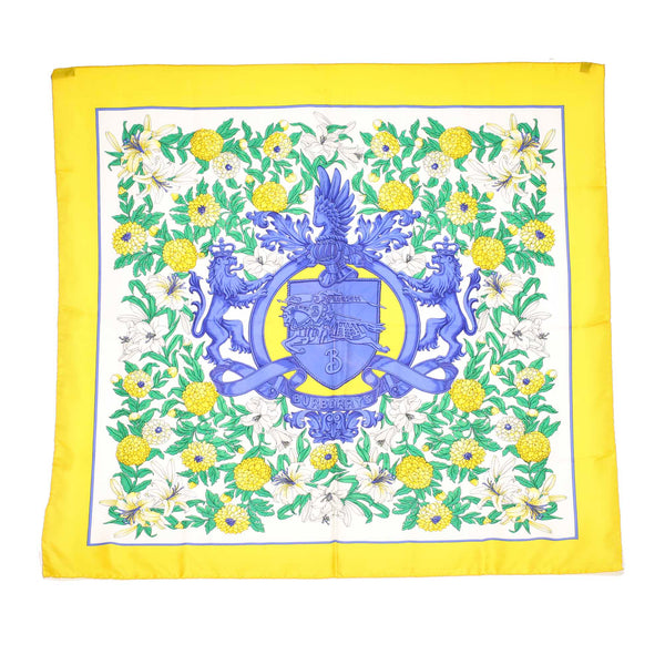 Yellow Burberry Printed Silk Scarf