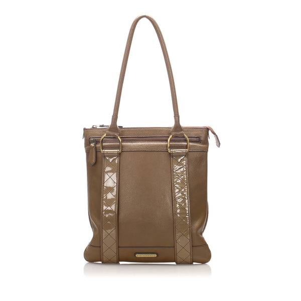 Brown Burberry Calf Leather Tote Bag