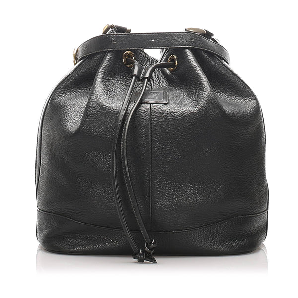 Black Burberry Leather Bucket Bag