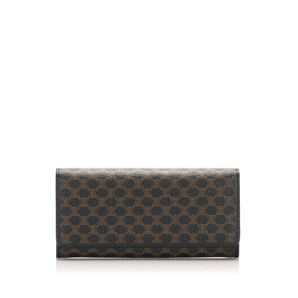 Brown Celine Macadam Long Wallet
