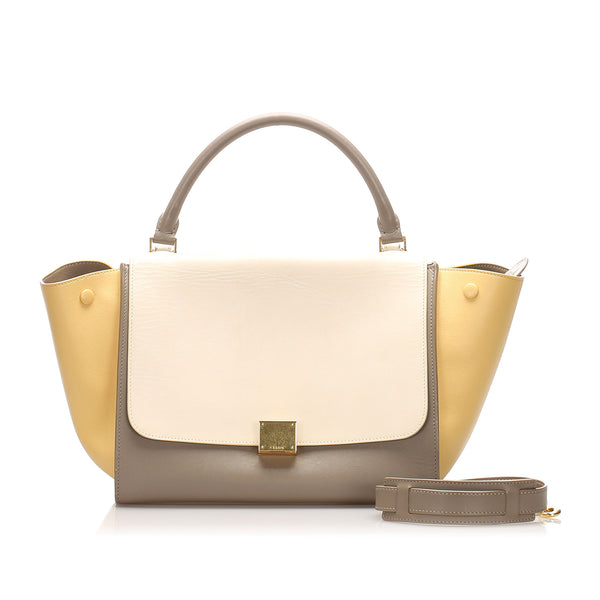 White Celine Medium Tricolor Trapeze Leather Satchel Bag